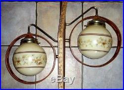 Vintage Retro Midcentury Modern Danish Era 2 Shade Tension Pole Lamp Nice