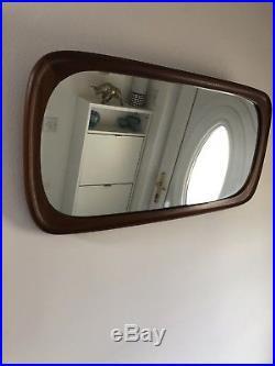 Vintage Retro Midcentury Modern Danish Teak Wall Mirror Horizontal Or Vertical
