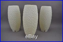 Vintage Retro Plastic Lamps Beehive Bubble Tripod White Mid Century Mod Set of 3
