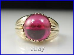 Vintage Retro Ruby Ring Estate Cabochon 14K Rose Gold Mid Century Red Jewelry