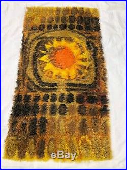 Vintage Retro Rug Scandi 1960s 1970s Retro Rya Mid Century Sunburst Sunflower