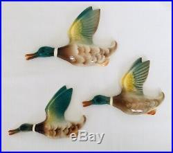 Vintage Retro Set 3 Flying Mallard Duck Wall Plaques Keele Street Pottery