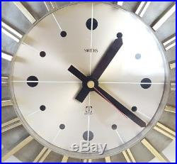 Vintage Retro Smiths Quartz Sunburst Wall Clock Mid-Century 1960s Working 14