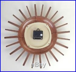 Vintage Retro Smiths Quartz Sunburst Wall Clock Mid-Century Modern 1960s 14