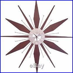 Vintage Retro Style Large Wall Clock Mid Century Wood Metal Atomic Shape 30 NEW
