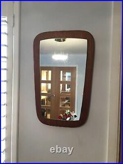 Vintage Retro Teak Danish Mid Century Asymmetrical Shaped wall hung Mirror