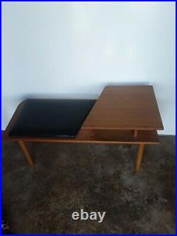 Vintage/Retro Teak Telephone Table With Black Vinyl Seat Mid Century