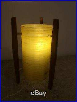 Vintage/Retro/mid century Rocket Table Lamp Teak Tripod Stand & Spun Fibre Shade