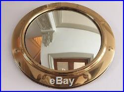 Vintage Round Convex Mirror Brass Mid Century Porthole Fisheye 1950s Retro 38cm