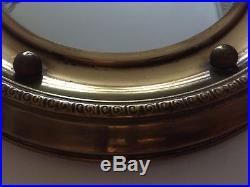 Vintage Round Convex Mirror Brass Porthole Fisheye Mid Century 1950s Retro 31cm