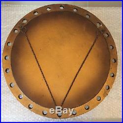 Vintage Round Convex Mirror Mid Century Porthole Fisheye Gold 1950s Retro 50cm
