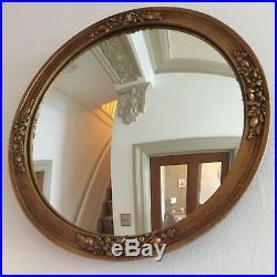Vintage Round Convex Wall Mirror Gold Butlers Mid Century 1950s Retro 34cm m76