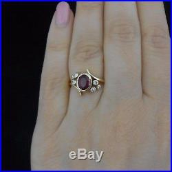 Vintage Ruby Diamond Ring 18k Yellow Gold Bypass Mid Century Retro Estate Gift