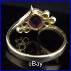 Vintage Ruby Diamond Ring 18k Yellow Gold Bypass Mid Century Retro Estate Gift