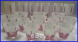 Vintage Set of 18 Glasses Pink and White Retro Mid Century Modern Tumblers EUC
