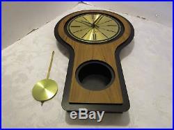 Vintage Seth Thomas Mid Century Pendulum Wall Clock Modern Retro Atomic 22 ¼ T