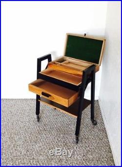 Vintage Sewing Table Basket Sewing Box Mid Century Knitting Storage Retro Cart