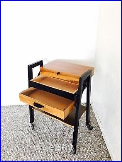 Vintage Sewing Table Basket Sewing Box Mid Century Knitting Storage Retro Cart