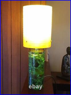 Vintage Shatterline Lamp in Light Green with Yellow Spun Fibreglass Shade