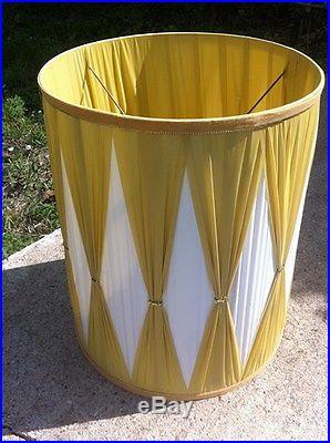 Vintage Silk Modern Mid Century Eames Era Retro Modern Drum Lamp Shade