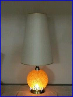 Vintage Spaghetti Table Lamp Orange Spun Plastic Retro Mid Century Modern WORKS