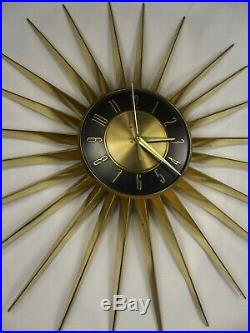 Vintage Starburst Wall Clock ELGIN Atomic Sunburst RETRO Mid Century 1960s WORKS