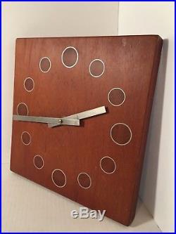 Vintage StileCraft Teak Wall Clock Retro Mid Century Modern Nelson Umanoff Style