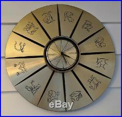 Vintage Sunbeam Zodiac Astrology Wall Clock Mid Century Modern Gold Libra Retro