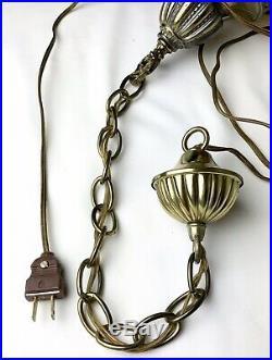 Vintage Swag Light Fixture Amber Coin Dot Globe Plug-in Mid Century Modern Retro