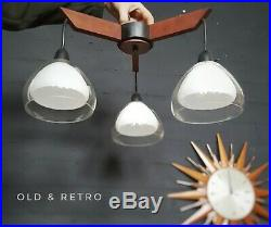 Vintage TEAK & Glass 1960s 1970s Ceiling Light Fitting retro mid century