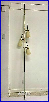 Vintage TENSION POLE FLOOR LAMP mid century modern light Wood atomic retro 1960s