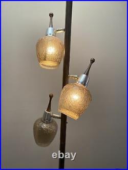 Vintage TENSION POLE FLOOR LAMP mid century modern light atomic retro glass 50s