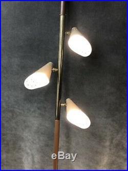 Vintage TENSION POLE FLOOR LAMP mid century modern light beige table 60s retro