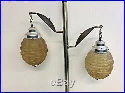 Vintage TENSION POLE FLOOR LAMP mid century modern light wood danish retro 60s