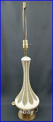 Vintage Table Lamp 1960 Gold White Green Danish Mid Century Modern Atomic Retro