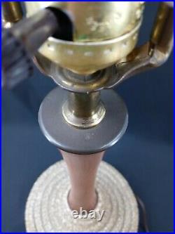 Vintage Table Lamp Mid Century Danish Modern Retro Pebbled Genie Teak Wood