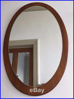 Vintage Teak Mirror Retro Mid Century 60s 70s Danish Style Vertical Oval 57X36cm