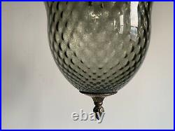 Vintage Textured Smoked Glass Swag Lamp MID Century Chandelier Light Fixture MCM
