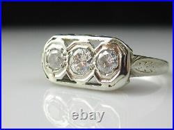 Vintage Three Stone Diamond Ring 20K White Gold Estate Retro Mid Century Jewelry