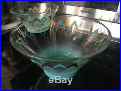 Vintage Turquoise Gold Atomic Retro Mid Century Modern 3 Pieces Chip and Dip Set
