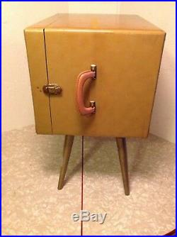 Vintage Vinyl Record Storage Cabinet / Carrying Case Tapered Retro Mid Century