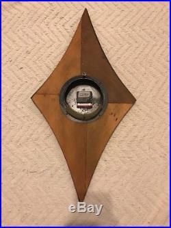 Vintage Welby Diamond Wood Wall Clock Retro Mid Century Modern MCM Starburst