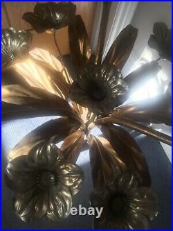 Vintage Wheatsheaf Gold Flower Side Table, Chanel, mid century, retro 50s, 60s