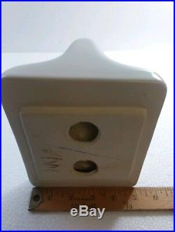 Vintage White Ceramic TP Toilet Paper Holder Porcelain Mid Century Modern Retro