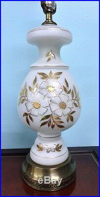 Vintage White Satin Glass Table Lamp Gold Floral Brass Mid Century 1960s Retro