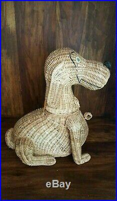 Vintage Woven Wicker Dog Bag Basket Purse LARGE! Mid Century Highly Collectible