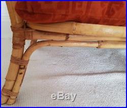 Vintage bamboo & cane sofa, rattan chair, bohemian, boho retro Tiki, midcentury