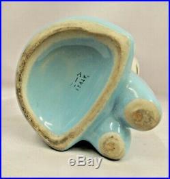 Vintage blue polka dot 1950s mid century Italian ceramic scoop head cat vase