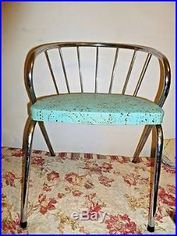 Vintage child's CHAIR Mid Century Modern atomic turquoise blue with chrome retro