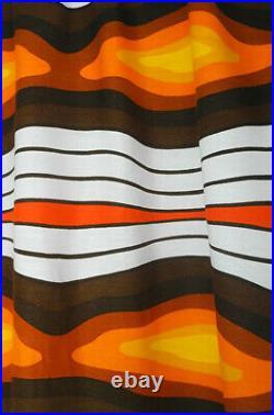 Vintage fabric curtain drape orange brown retro Mid-Century Pop Op Art 60's 70's